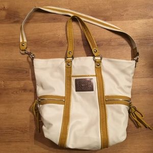 Coach Poppy White Leather and Yellow Purse